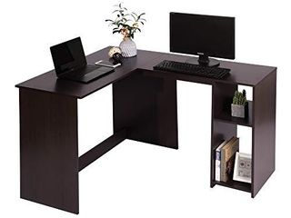 Corner Computer Desk l Shaped Home Office Workstation Writing Study Table with 2 Storage Shelves and Hutches  Espresso