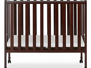 Dream On Me 2 in 1 Portable Folding Stationary Side Crib in Espresso  Greenguard Gold Certified