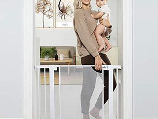 Heele 29 5 40 5a Auto Close Safety Baby Gate Durable Extra Wide Child Gate for Stairs Doorways  Metal Mesh Easy Walk Thru Dog Gate for House Includes 4 Wall Cups 2 75 Inch and 5 5 Inch Extension
