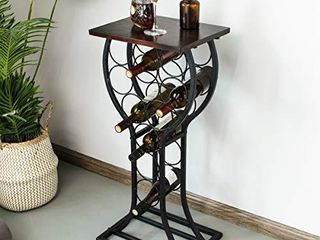 BENOSS Industrial Freestanding Wine Rack Holds 11 Bottles  Wine Storage Organizer Stand Bar  Wine Table Display Rack  Metal and Solid Furniture Decor  15W x 12D x 33 25H Inch  Solid Wood 1