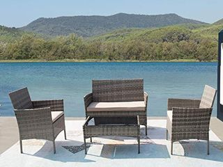 Furniwell Patio Outdoor Furniture Set 4 Pieces Porch Wicker Chairs Sets Rattan Balcony Sofa Conversation Set for Backyard lawn Pool Grey and Beige