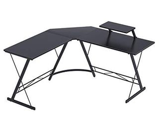 Coleshome l Shaped Desk  51  Home Office Corner Desk with Shelf  Gaming Computer Desk with Monitor Stand  PC Table Workstation with Shelf  Black