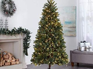 NOMA 6 5 Ft  Pre lit Artificial Spruce Christmas Tree with 300 Warm White lED Bulbs   1125 Tips   Hudson