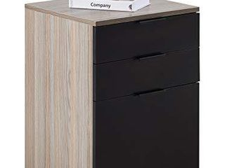 JJS 3 Drawer Rolling Wood File Cabinet with locking Wheels  Home Office Portable Vertical Mobile Wooden Storage Filing Cabinet for A4 or letter Size  Black
