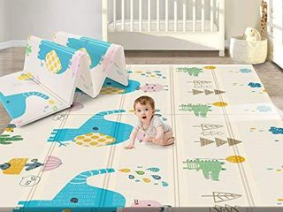 Gimars Xl BPA Free 0 6 in Reversible Foldable Baby Play Mat  Waterproof Thick Foam Floor Baby Crawling Mat  Portable Baby Playmat for Infants  Toddler  Kids  Indoor Outdoor Use  79 x71x0 6inch