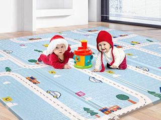 Baby Play Mat  Folding Playmat Waterproof Reversible Baby Crawling Mat large Foam NonToxic Kids Play Mat Anti Slip Portable Tummy Time Playroom Foldable Playmats for Infant  Toddler   61x78x0 4IN