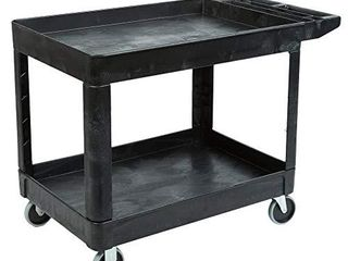Rubbermaid Commercial Products 2 Shelf Utility Service Cart  Medium  lipped Shelves  Storage Handle  500 lbs  Capacity  for Warehouse Garage Cleaning Manufacturing  FG452089BlA