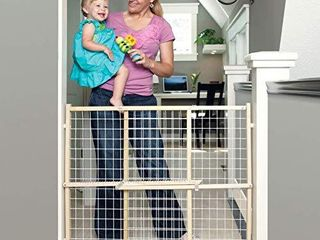 Toddleroo by North States 50  Wide Extra Wide Wire Mesh Baby Gate  Installs in Extra Wide Opening in Second Without damaging Wall  Pressure Mount  Fits 29 5 50  Wide  32  Tall  Sustainable Hardwood