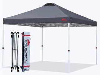 MASTERCANOPY Pop up Canopy Tent Commercial Instant Canopy with Wheeled Bag Canopy Sandbags x4 Tent Stakesx4  10 x10 Dark Grey
