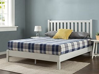 ZINUS Wen Wood Deluxe Platform Bed Frame with Headboard   Solid Wood Foundation   Wood Slat Support   No Box Spring Needed   Easy Assembly  Full