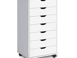 DEVAISE Tall Chest of Drawers  7 Drawer Storage Cabinet for Makeup  Wood Dresser for Bedroom  living Room  White