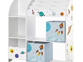 SONGMICS Toy and Book Organizer for Kids  2 Storage Boxes  Children s Room  White
