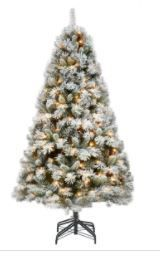 Pre lit Frosted White and Green 7 5Ft Christmas Tree  One Section Doesn t light up