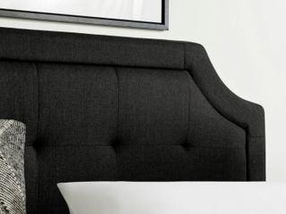 Brookside Upholstered Scoop Edge Headboard Black Twin