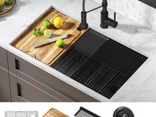 KRAUS Kore Gunmetal 16 Gauge Stainless Steel PVD 32 88 in  Single Bowl Undermount Workstation Kitchen Sink with Accessories  PVD Gunmetal