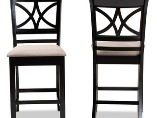 Baxton Studio Chandler Sand Upholstered Espresso Wood Pub Chair  Set of 2