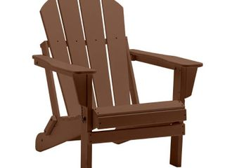 Braxton Outdoor Folding Poly Adirondack Chair  Dark Brown