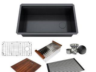 Kingsman 32 Inch Black Stainless Steel All In One Sink  Corner Is Bent