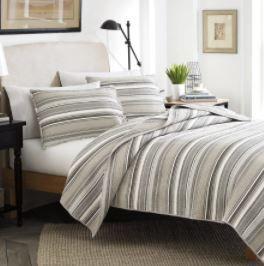 Stone Cottage Fresno Neutral Stripe Cotton 3 piece Full Queen Quilt Set  Retail 87 99