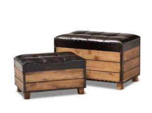 Marella 2 Piece Rustic Faux leather Wood Storage Ottoman