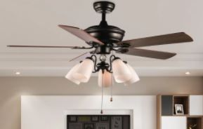 52 Inch Arcturus 5 Blade Chandelier Ceiling Fan with Pull Chain