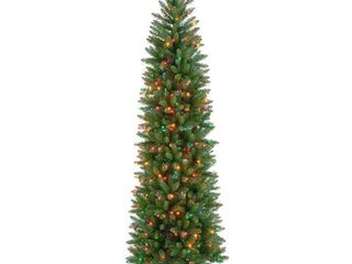 7 5 foot Kingswood Fir Hinged Pencil Tree with 350 Multi lights  Retail 163 99