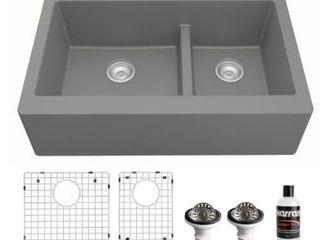Karran Farmhouse Apron Front Quartz Double Sink