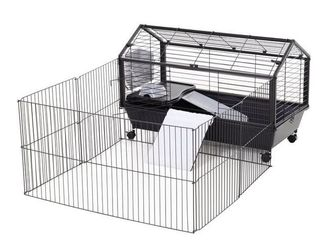 PawHut Rolling Metal Rabbit  Guinea Pig or Small Animal Cage