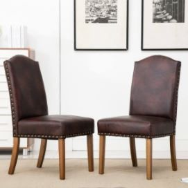 Mod Urban Style Wood Nailhead Faux leather Padded Parson Chair Set of 2  Brown  Retail 219 39