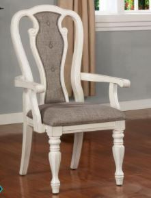 Furniture of America Vintage White Arm Chair  Set of Two