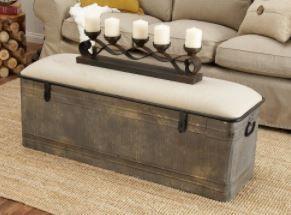 Rustic Gray Metal and Wood Rectangular Storage Bench  Retail  438 00