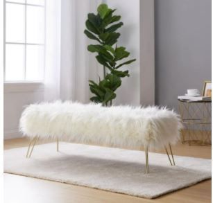 Silver Orchid Nilsson Contemporary Faux Fur long Bench Ottoman  Retail 116 49