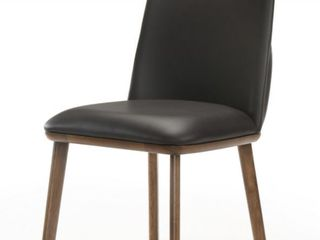 Modrest Utah Modern Walnut And Brown Dining Chairs  Set of 2