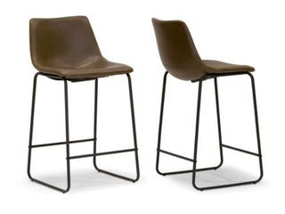 Carbon loft Richard Faux leather and Iron Counter Stool  Set of 2  Retail 128 99