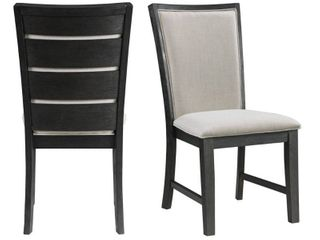 2pc Jasper Dining Slat Back Side Chair Set Black   Picket House Furnishings