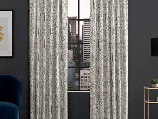 Aubry Shimmering Floral Blackout Back Tab Curtain Panel Pair  Gray   Scott living
