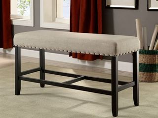 Furniture of America Tays Rustic Black linen Fabric Counter Bench  Retail 137 49   No Hardware