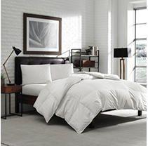luxury Eddie Bauer Hypoallergenic 650 Fill Power lofty Down King Comforter   300 TC Damask Striped Cotton