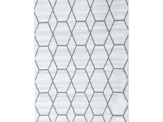 MSRUGS Moroccan Collection White 8 ft  x 10 ft  Geometric Polypropylene Area Rug