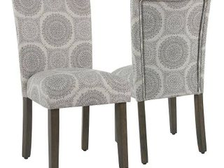 HomePop Parsons Dining Chair   Gray Medallion  Set of 2  Retail 218 99