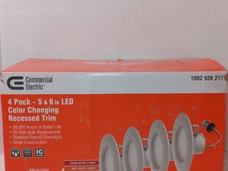 Commercial Electric 4 Pack 5   6 In led Color Changing Recessed Trim White