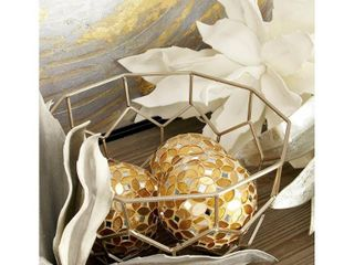 Set Of 4 Fabulously Designed Pvc Glass Gold Mosaic Orb
