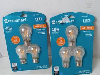 EcoSmart lED light bulb 3 pack 40 watt soft white  3 pk Qty 2
