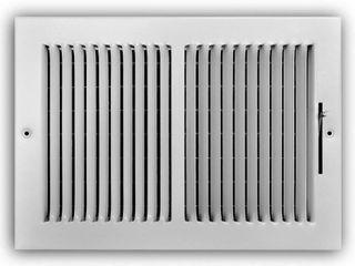 Everbilt 12 in  x 8 in  2 Way Steel Wall Ceiling Register in White  Powder Coat White