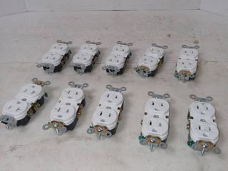 15 AMP leviton Residential Grade Ground Duplex Outlet Qty 10