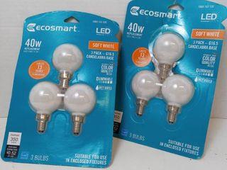 Ecosmart lED 40w Soft White Candelabra Base Bulbs Qty 2 3 pks  6 bulbs