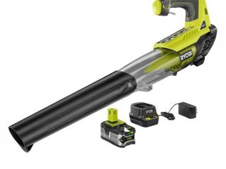 RYOBI ONE  100 MPH 280 CFM Variable Speed 18 Volt lithium Ion Cordless Jet Fan leaf Blower 4Ah Battery and Charger Included