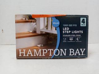 Hampton Bay 2 light Stainless Steel Outdoor Integrated led Solar Step lights 4pk