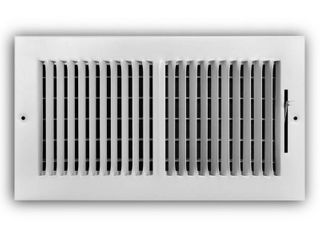 Everbilt 12 in  x 6 in  2 Way Steel Wall Ceiling Register in White  Powder Coat White