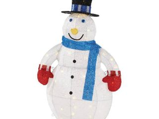 Home Accents Holiday 3 ft  Yuletide lane lED light Up Outdoor Tinsel Snowman